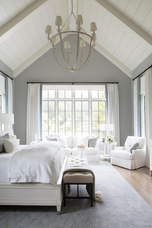 White Slipcover Sofa and Chair in Master Bedroom ...