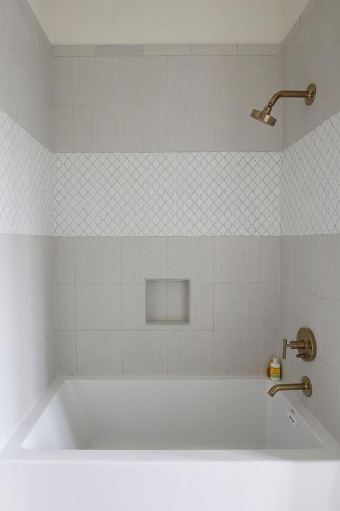 White Arabesque Shower Accent Tiles Transitional Bathroom