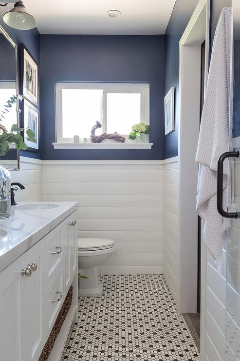 Navy Blue Bath Walls with White Shiplap Trim - Cottage - Bathroom Black And Navy Bathroom on navy blue bathroom, navy and coral bedroom, navy and black jewelry, navy and black bedding, navy and black clothing,