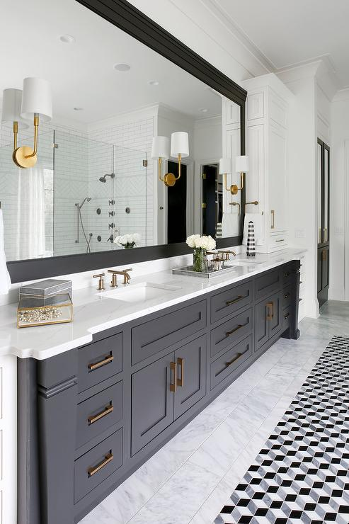 Black Double Bath Vanity With Brass Sconces Transitional