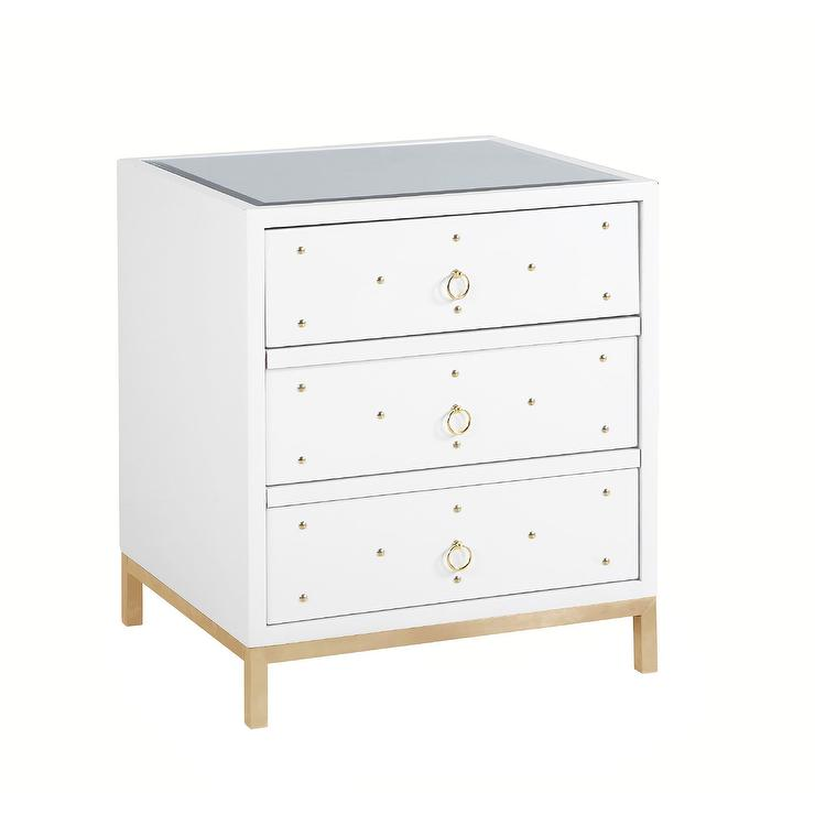 Gold Studded White Mirrored Nightstand