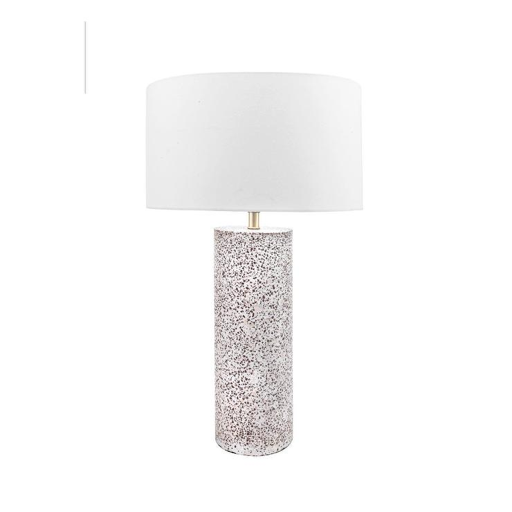Valentina Cylinder Textured Concrete Marble Table Lamp