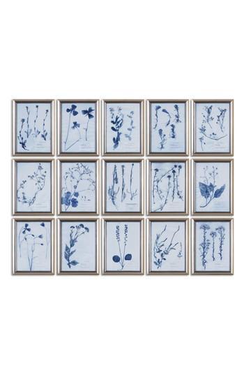 Blue Pressed Flower 15 Piece Wall Art Set
