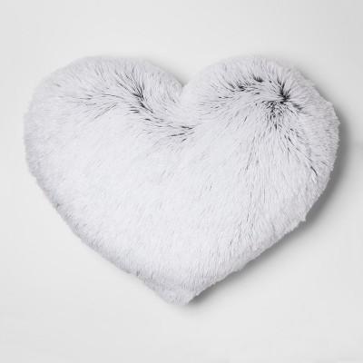 White Heart Shaped Ruffle Pillow