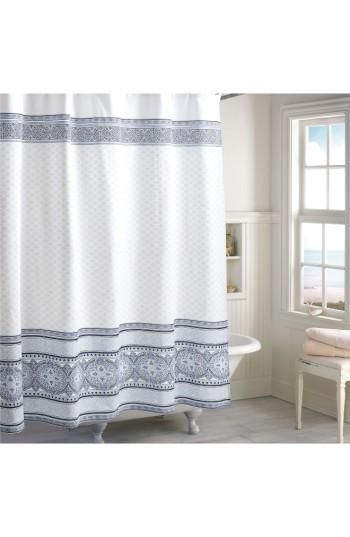 Peri Home Indigo Medallion Border Shower Curtain
