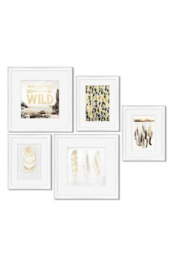 Crystal 5 Piece White Gold Framed Wall Art