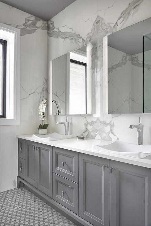 Gray Bath Vanity Cabinets With White Subway Tiles