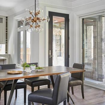 Black Leather Chairs With Wood And Metal Table
