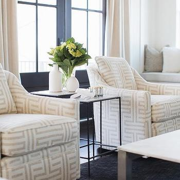 Ivory And Gray Fretwork Chairs On BlackRug