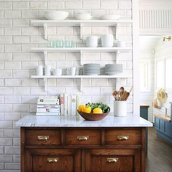Blue Ceiling Over White Stacked Shelves View Full Size Large Beveled Subway Backsplash Tiles