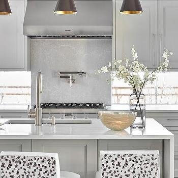 One Side Kitchen Waterfall Island Design Ideas