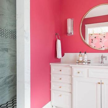 Hot Pink Girls Bathroom Wall Paint Design Ideas
