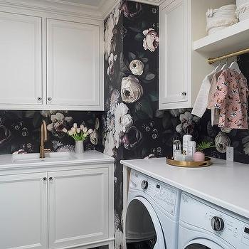 Black Rose Print Laundry Room Wallpaper Design Ideas