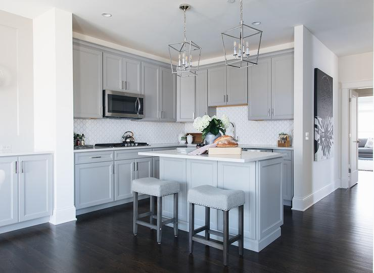 Small Gray Kitchen With Center Island Transitional