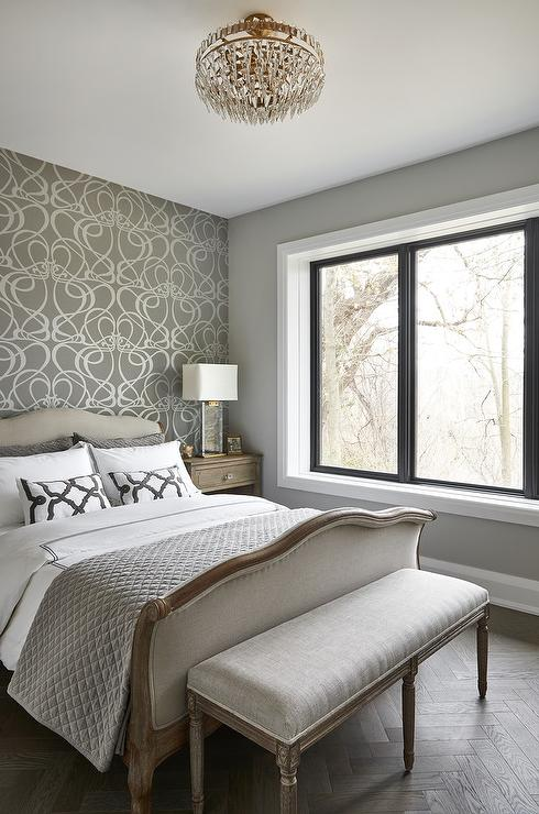 White And Gray Bedroom With French Sleigh Bed