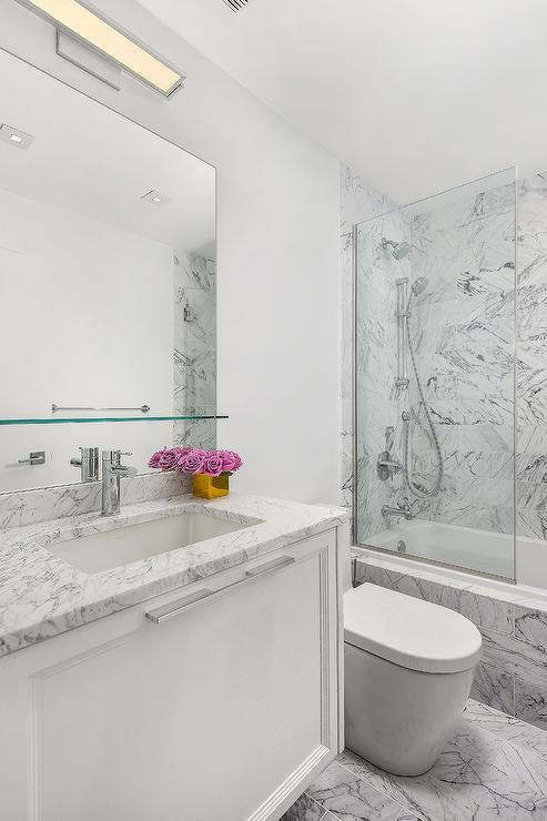 Floating Glass Shelf Over Bath Sink - Transitional - Bathroom