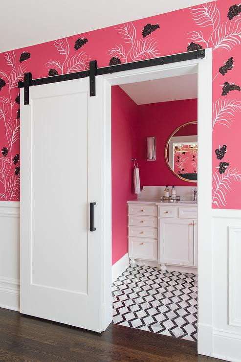 neon pink wall paint - contemporary - bathroom - benjamin moore hot lips