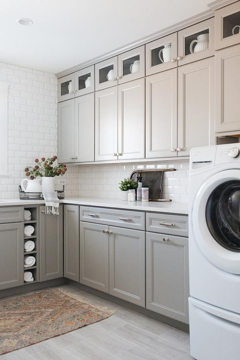 Enjoyable Light Gray Shaker Laundry Cabinets With Gray And Orange Interior Design Ideas Gentotryabchikinfo