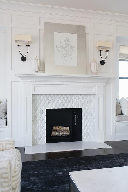 Black sconces on white board and batten fireplace wall transitional living room - Black and white fireplace ...