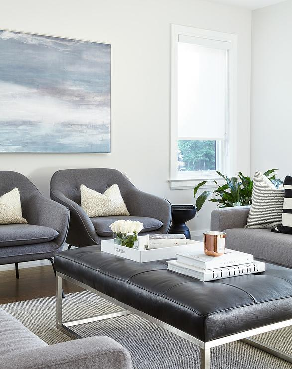 Black Leather Tufted Bench with Charcoal Gray Accent Chairs ...