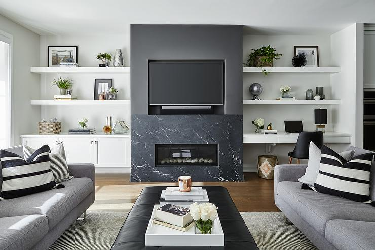 Modern Black Marble Fireplace Mantel Under Tv Niche