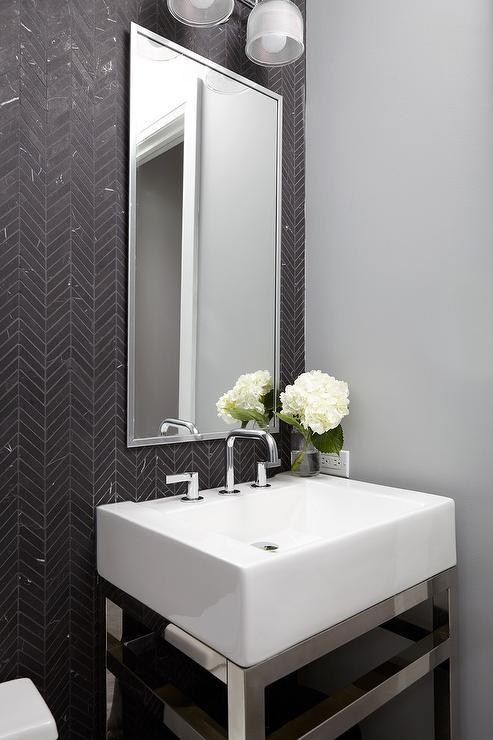 Powder Room With Black And White Herringbone Floor Tiles Contemporary Bathroom