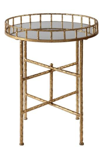 Gold Bamboo Design Mirrored Tray Table