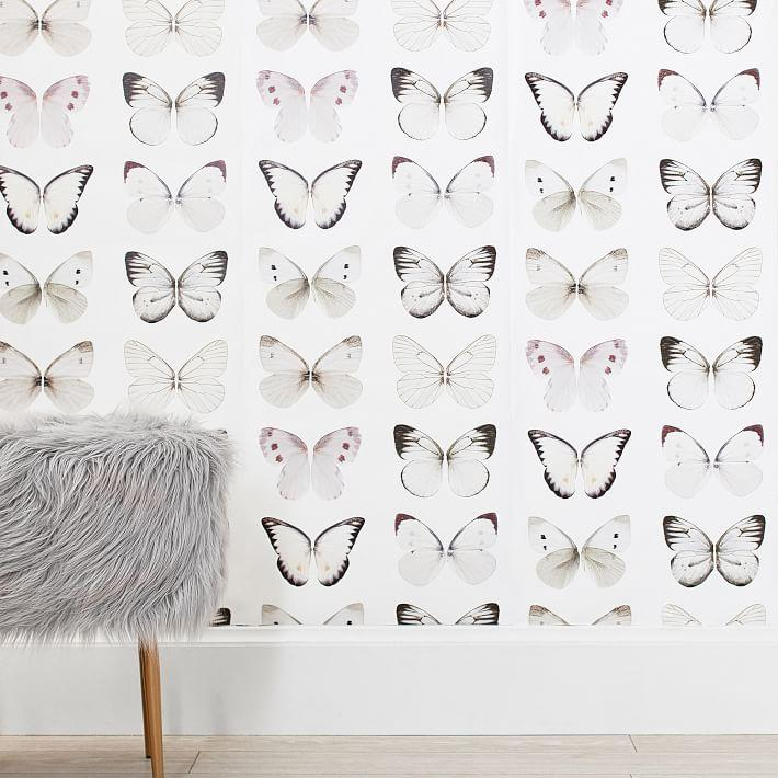Black White Butterflies Pattern Surestrip Wallpaper