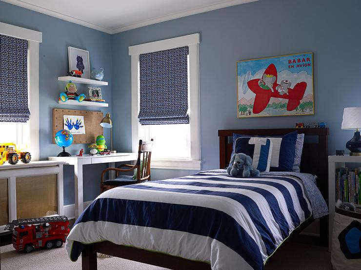 Blue Boys Room With White Lacquer Desk Transitional Boy S Room