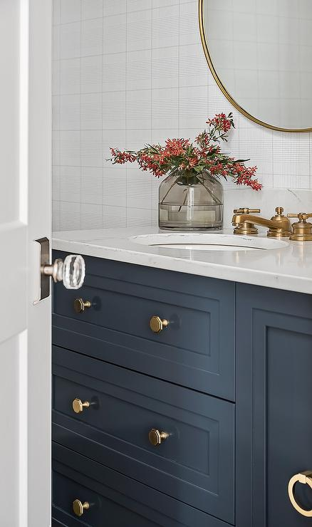Navy Blue Bath Vanity with Antique Brass Vintage Faucet - Navy Blue Bath Vanity With Antique Brass Vintage Faucet
