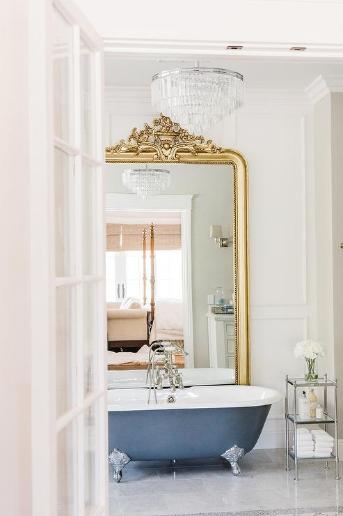 Gold Rococo Mirror With Gray Claw Foot Bathtub French Bathroom