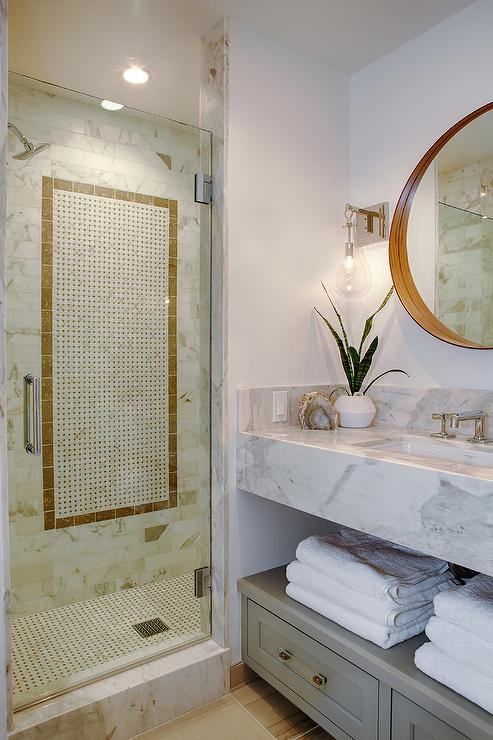 White And Gold Marble Shower Tiles Transitional Bathroom