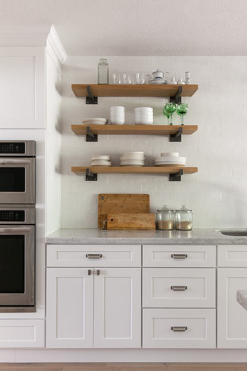 Vintage Industrial Shelves Transitional Kitchen Maclean Interiors