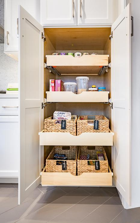 Stacked Pull Out Pantry Drawers Transitional Kitchen