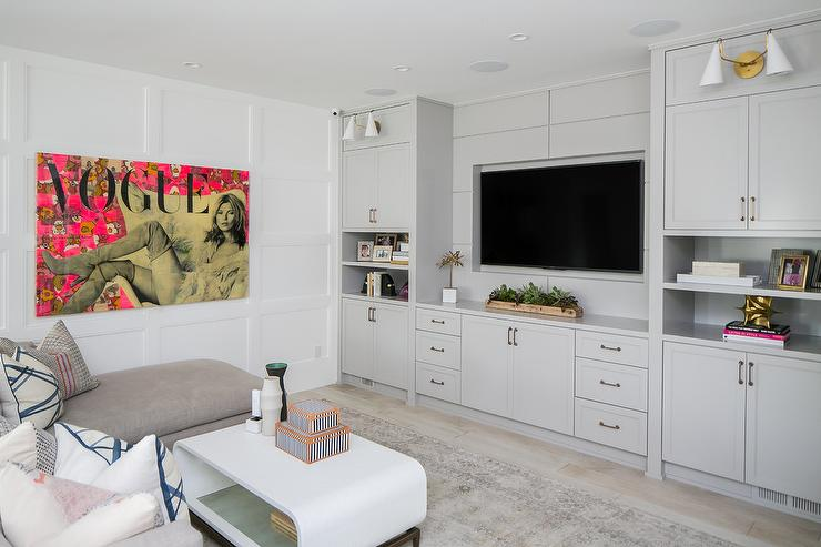 Living Room Furniture Packages With Tv. White and gray living room features a flat panel television mounted in  niche between over light built tv cabinets Living Room design decor photos pictures ideas inspiration