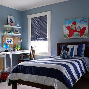 Blue Boys Room With White Lacquer Desk