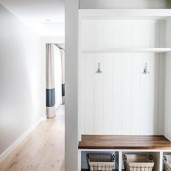 Green Mudroom Design Contemporary Laundry Room