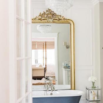 gold rococo bathroom floor mirror design ideas