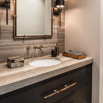 Brown Stone Bath Vanity Backsplash Design Ideas
