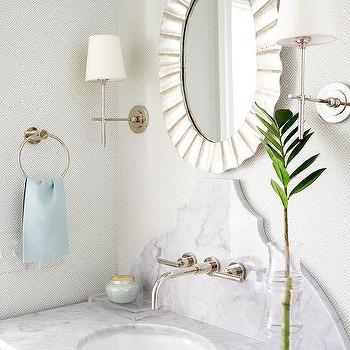 Silver Leaf Rippled Mirror With Black Washstand
