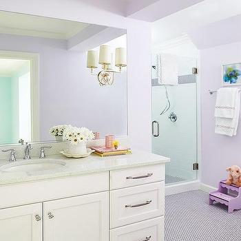 Kara Cox Interiors · Purple Penny Floor Tiles With White Washstand