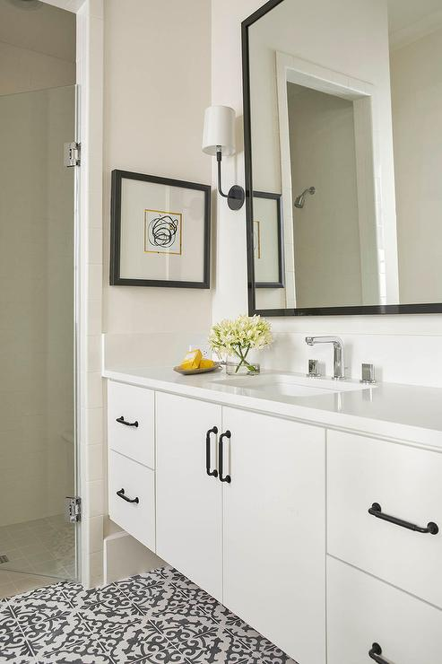 Off White Floating Vanity Cabinets With Oil Rubbed Bronze Pulls