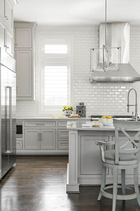 Kitchen With Stacked Wraparound Floating Shelves With Gray