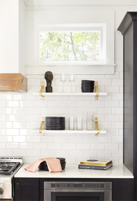 White Marble Shelves With Brass Brackets Transitional Kitchen