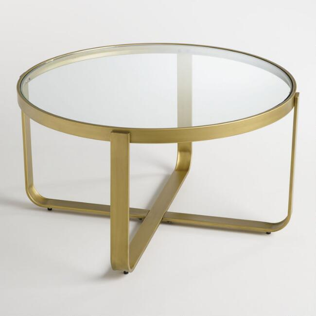 Antique Brass And Glass Round Coffee Table: Hammered Metal Antique Brass Coffee Table