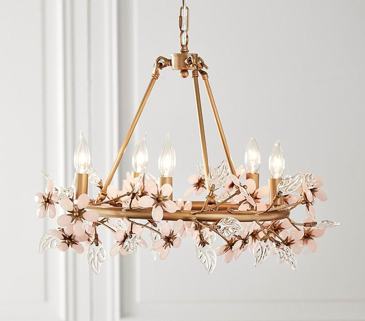 Grace blush glass flower brass chandelier mozeypictures Image collections