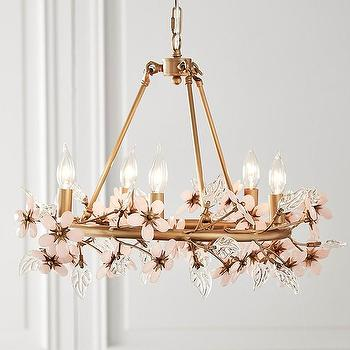 Nature inspired chandelier products bookmarks design grace blush glass flower brass chandelier aloadofball Gallery