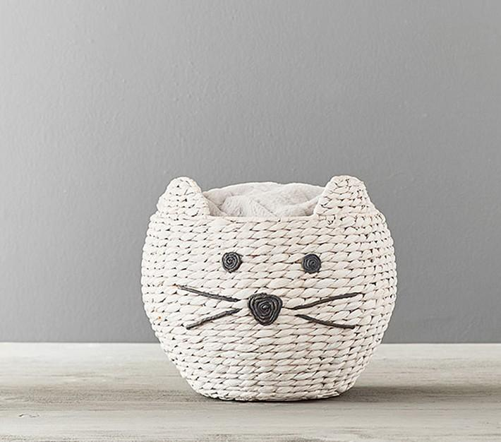 Cat Woven Rattan Animal Basket