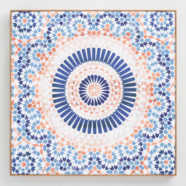 Oliver G Mandala Terracotta Coral Blue Wall Art