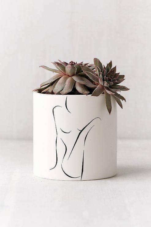 Female Form White Ceramic Planter